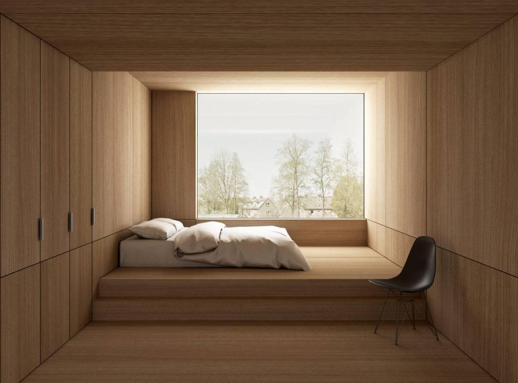 3D visualisatie van een minimalistisch interieur ontwerp voor een slaapkamer