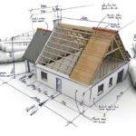 3D visualisatie van een huis in aanbouw op afstand met opgerolde bouwtechnische tekeningen ernaast