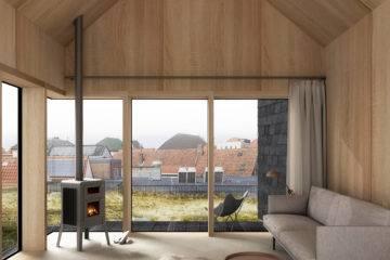 3D render interieur van een woonkamer