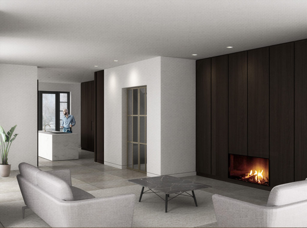 3D impressie van ontwerp van een interieurarchitect