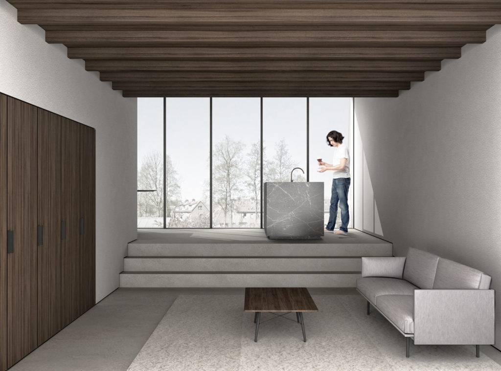 3D visualisatie van een ontwerp van architect voor verbouwing