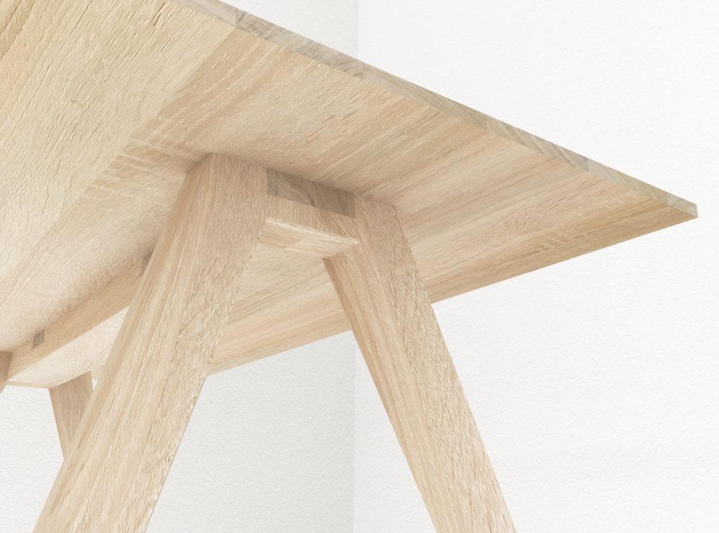 3D impressie van tafel ontwerp gericht op de constructie