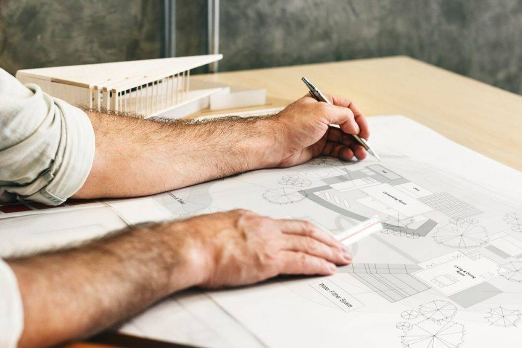 Tekening van omgevingsvergunning voor het aanvragen van een omgevingsvergunning of omgevingsvergunning check.